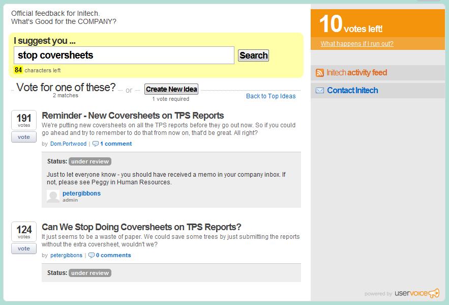 """Uservoice"" screenshot"
