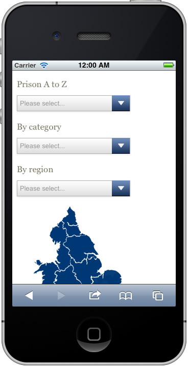 Mobile-optimised prison finder