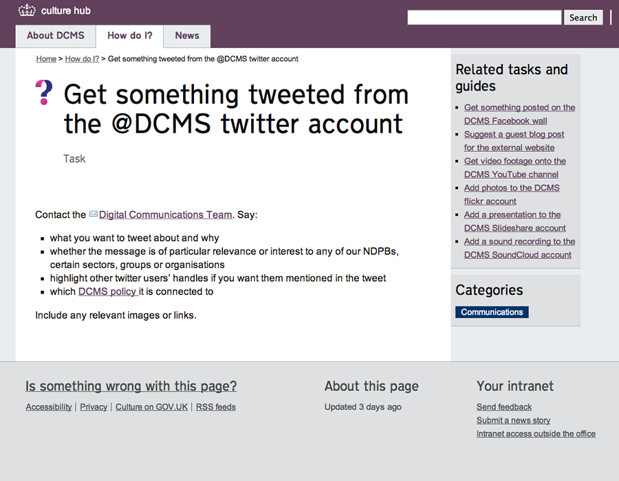 Get something tweeted from the @DCMS twitter account - culture hub tasks and guides