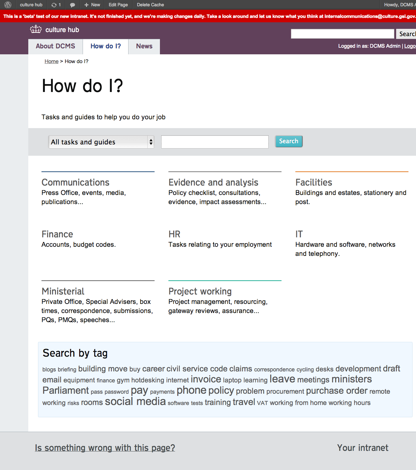 The 'How do I?' landing page provides several ways for staff to get to the detailed information.