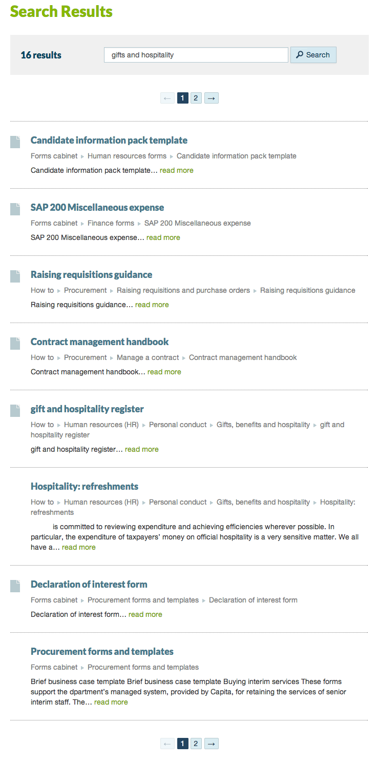Intranet A: gifts and hospitality