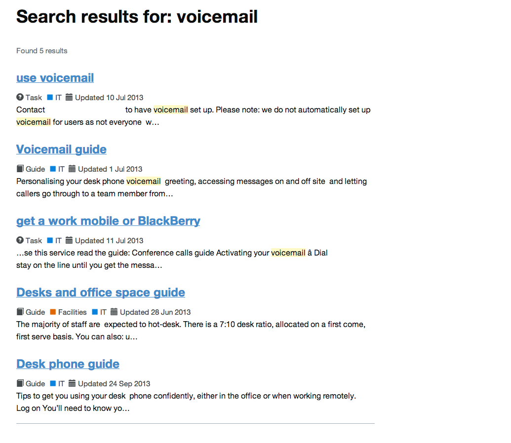 Intranet B: voicemail