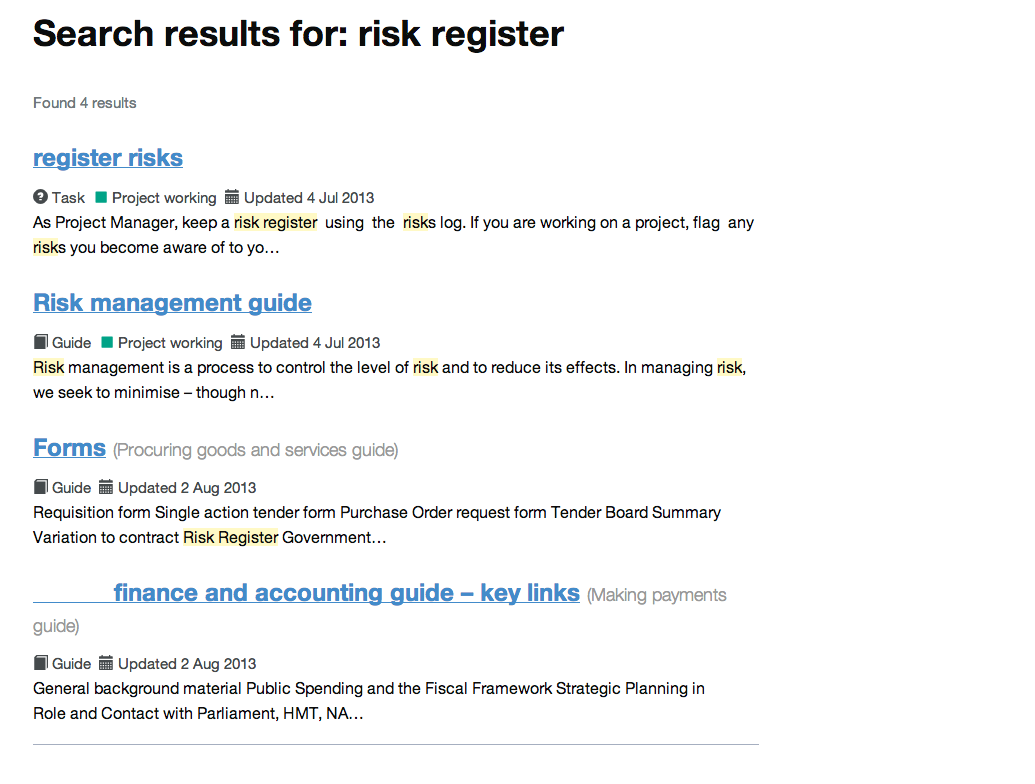 Intranet B: risk register