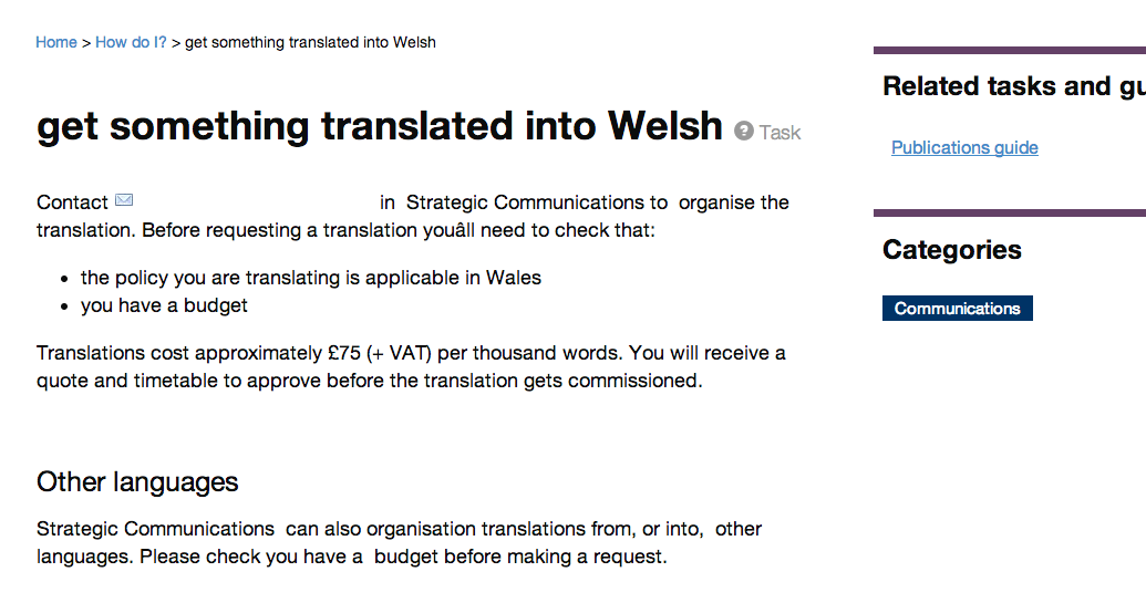 Intranet B: translate into welsh - goes direct to required page