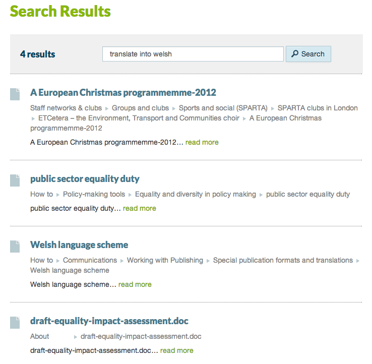 Intranet A: translate into welsh
