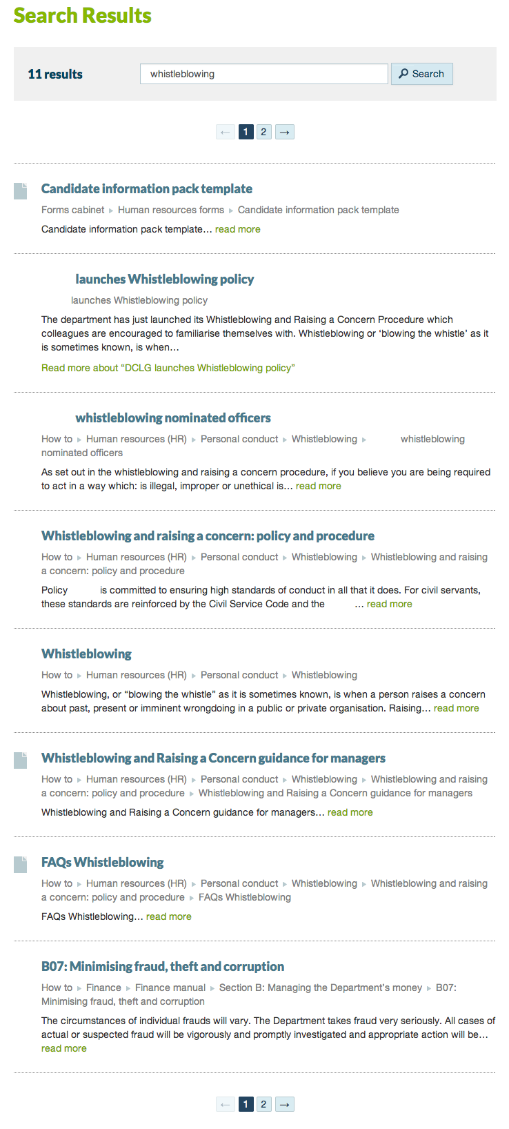 Intranet A: whistleblowing