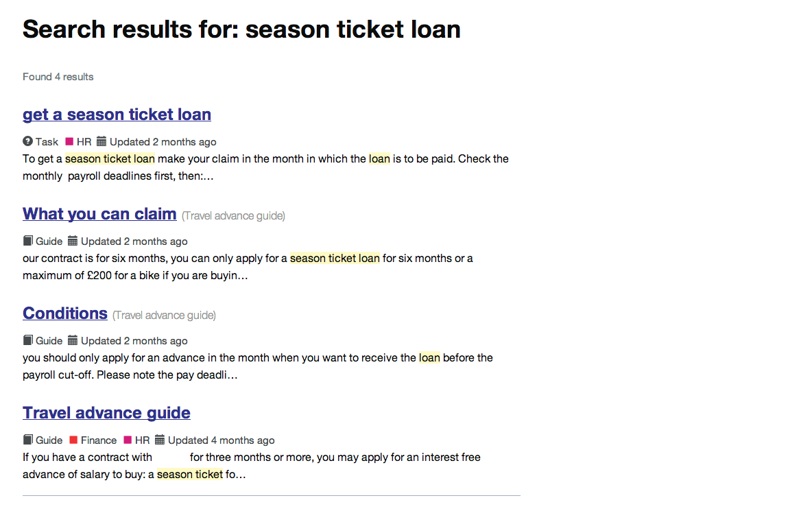 Intranet B: season ticket loan