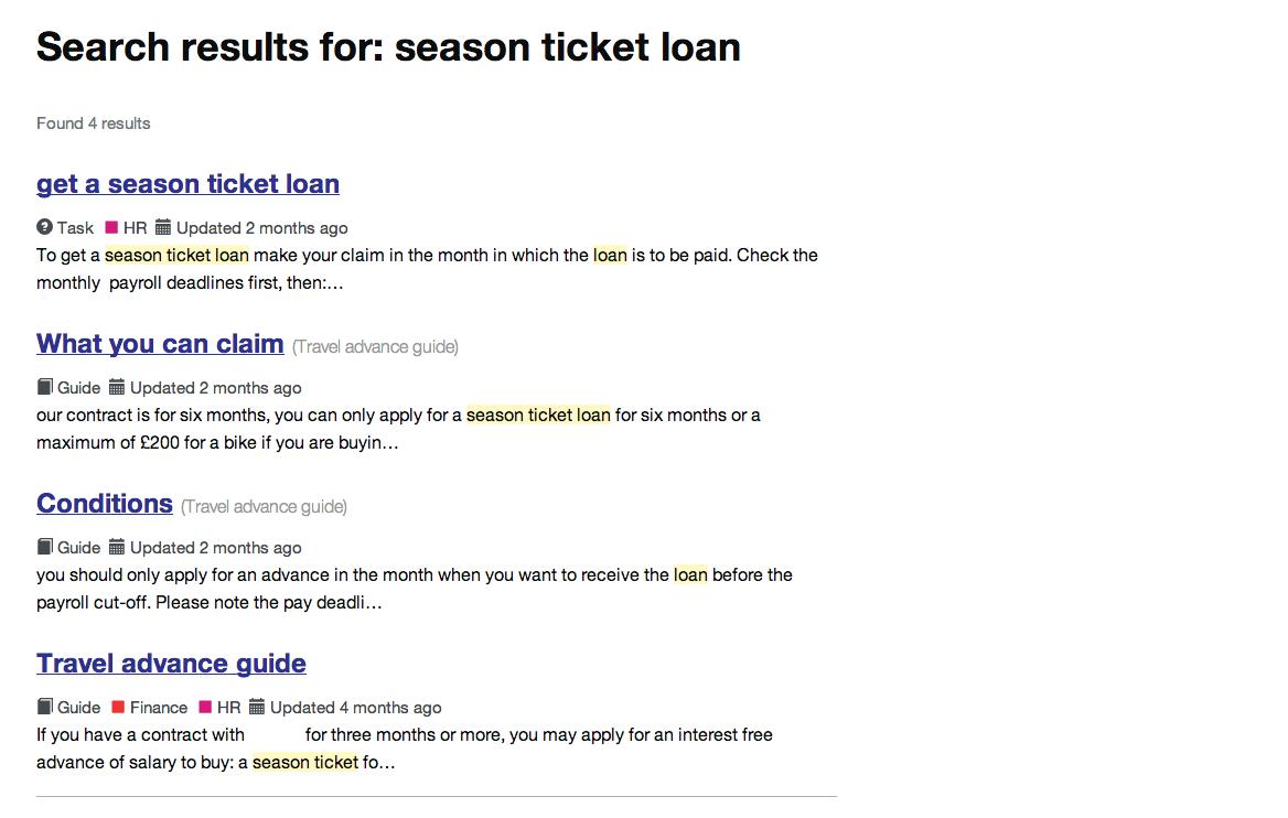 Intranet B: season ticket loan