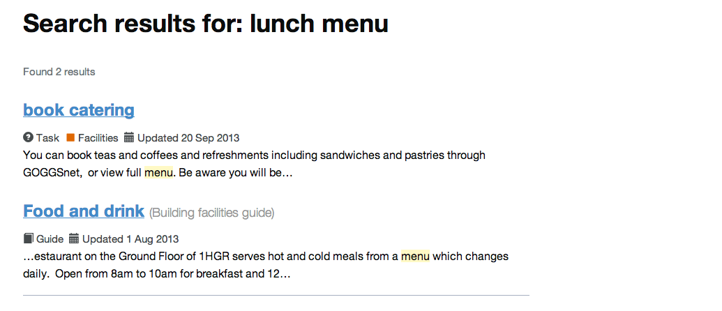 Intranet B: lunch menu