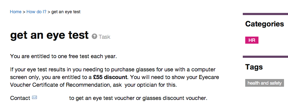 Intranet B: eye test - goes direct to required page