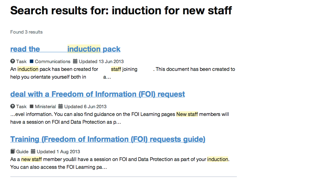 Intranet B: induction for new staff