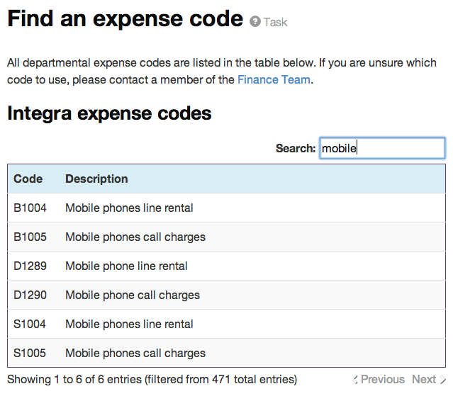 Expense codes