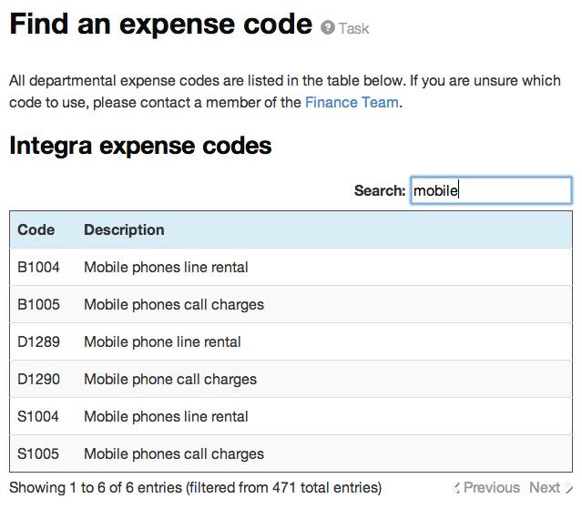 Expense codes