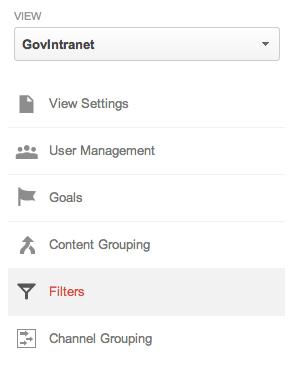 Google Analytics Filters button