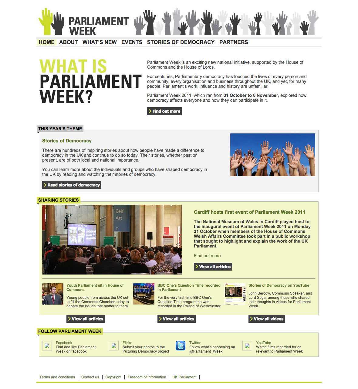 Parliament week website user experience design in action for Parliament site