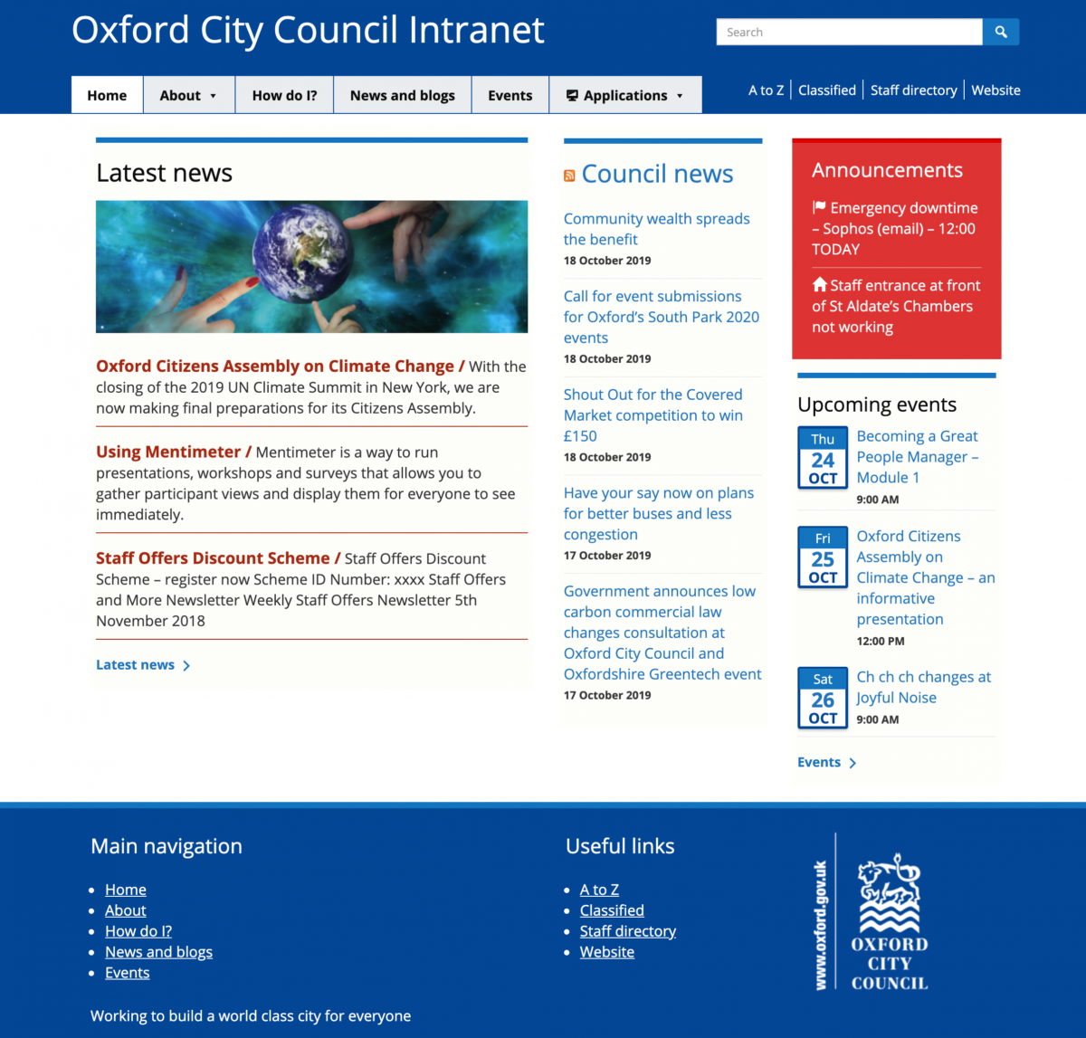 Oxford City Council Intranet